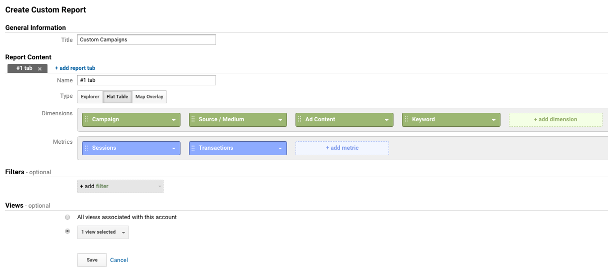 custom campaign report in Google Analytics