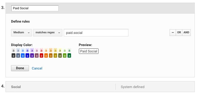 Default channel grouping in Google Analytics: paid social