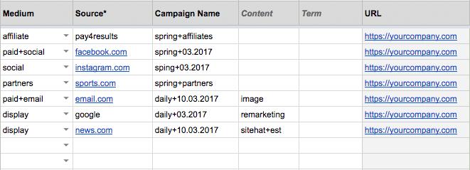 utm tagging spreadsheet